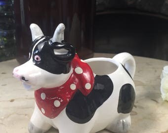 Vintage Cow Creamer, Vintage Black and White Cow Milk Jug