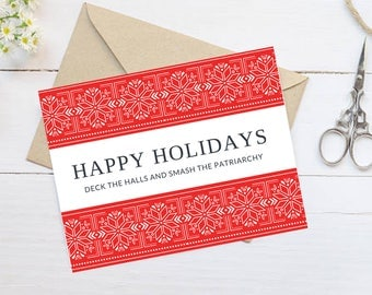 """NEW! Feminist Holiday Card: """"Deck the halls and smash the patriarchy."""" Own the holidays this year with feminist Christmas cards"""