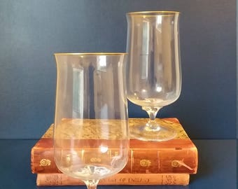 Lenox Crystal Water Goblets Hayworth Line Gold Trim