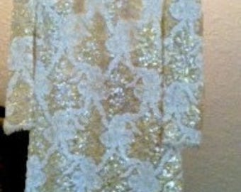 Lillie Rubin Couture Dress, Yellow  and white with sequins
