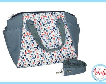 Annette handbag, tulips, blue, white, red, spring, handmade, swoon,