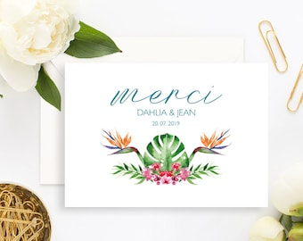 Tropical Wedding Thank You Card with white envelope - Wedding Thank You Card - Tropical Wedding Invitation - Pineapple - Flowers - Exotic