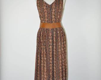 90s brown rayon tank dress / 1990s pinafore midi dress / vintage tribal print long dress