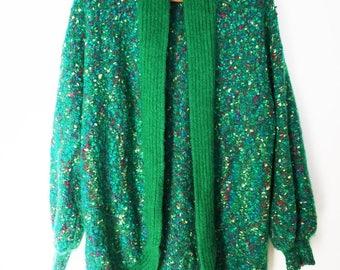 Vintage Green Boucle Knit Cervelle Sweater Coat Cardigan Sweater Jumper L
