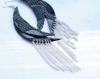 Black leather earrings Leather chain earrings Half moon earrings Dangle earrings Coctail earrings Light earrings  Chain fringe earrings