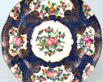 Striking Antique Plate, Booth's Silicon China, T. Goode, Blue and White, Floral Sprays, Fruit Pattern, Table Decor, Old Plate, Edwardian