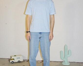 minimal blue and white striped tee shirt