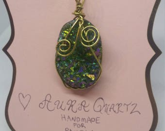 CUSTOM~ Wire Wrapped Crystal Pendant necklace