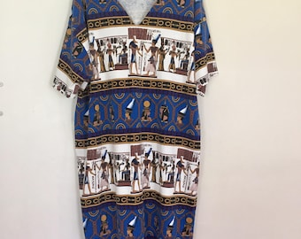 Vintage T-Shirt Dress with Egyptian Pattern // Egyptian Mumu Dress // 80s Egyptian Print Dress