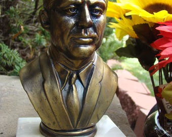 Vintage Bronze Kennedy bust statue on marble piece Heavy Paperweight Office Decor