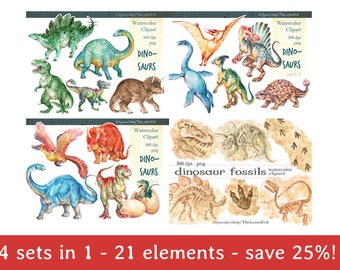 FULL PACK Dinosaurs Clipart, Digital Watercolor Illustration, Dinosaur Clip Art, Hand Drawn Dino, Stock, Commercial use, Realistic