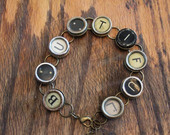 BeautifulTypewriter Key Bracelet, Be You Tiful,B U, inspiration,steampunk,unique gift,recycled,upcycled,reclaimed,vintage gift,industrial