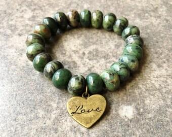 African Turquoise Jasper Bead Bracelet / Green Bead Bracelet / Jasper Bead Bracelet / Charm Bracelet / Green Charm Bracelet /