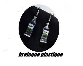 Earrings bottle plastic square mineral