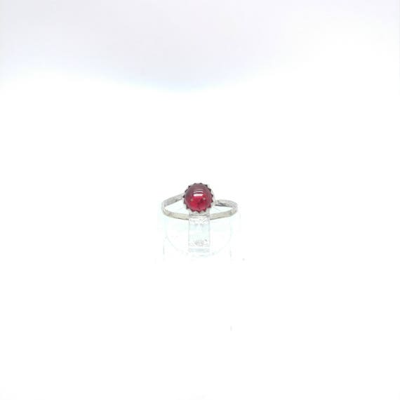 Simple Red Ring   Ruby Knuckle Ring   Sterling Silver Ring Sz 4.5   Oval Ruby Ring   Red Ruby Ring   July Birthstone Ring