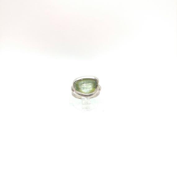 Tourmaline Slice Ring | Green Tourmaline Ring | Sterling Silver Ring Sz 4 | Tourmaline Ring | Tourmaline Crystal Jewelry | October Birthday