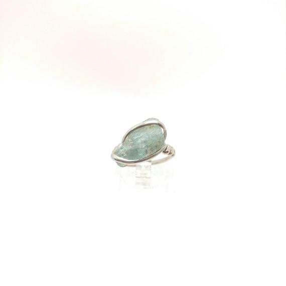 Rough Aquamarine Ring | Sterling Silver Ring Sz 5.5 | Raw Stone Ring | Raw Aquamarine Ring | Raw Gemstone Ring | Uncut Aquamarine Jewelry