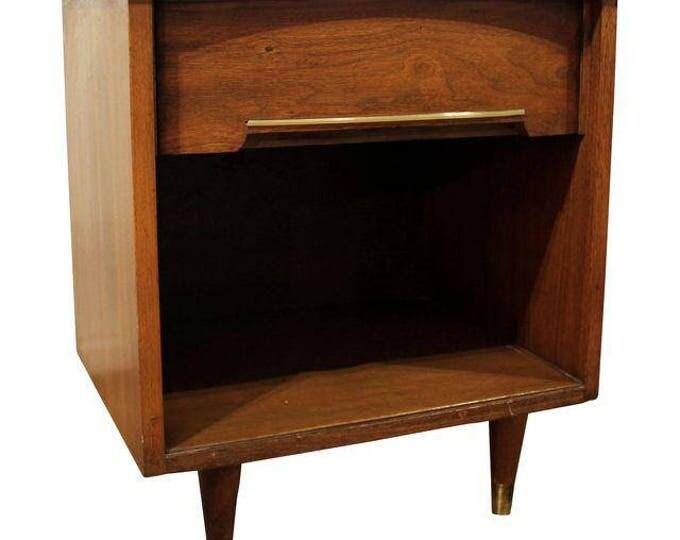 Mid-Century Danish Modern Walnut Brass Nightstand/End Table