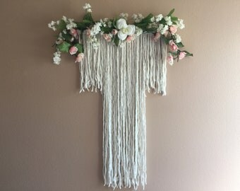 Flower Hanging Wall Decor Macrame Tassel Boho Bohemian White Pink Girl Nursery Wedding Baby Shower Centerpiece Modern Large Blush Tapestry