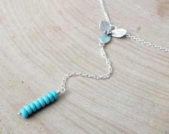 Sterling Silver Flower Lariat Necklace, Elegant Flower Necklace, Silver Turquoise Necklace
