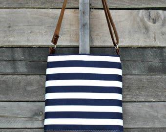 Crossbody Bag,  Navy and White Stripe, Genuine Leather, Everyday Purse, Adjustable Strap