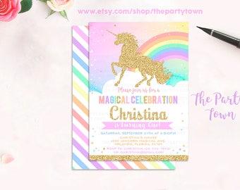Unicorn Invitation, 1st Unicorn Birthday Invitation, Rainbow Magical Unicorn Invite, Gold Unicorn,first Pastel Unicorn Invite Unicorn Party