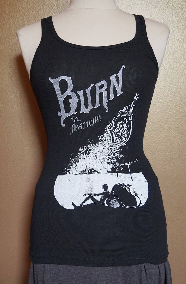 """Small """"Burn the Abattoirs"""" Tank, White Ink on Black"""