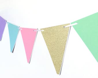 Pastel rainbow and Gold Party Bunting, Triangle pennant banner. Baby shower, birthday party, photo prop, first birthday, unicorn party.