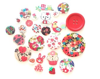 FREE SHIPPING Australia ONLY 25 Assorted Mixed Buttons in Various shades of Red