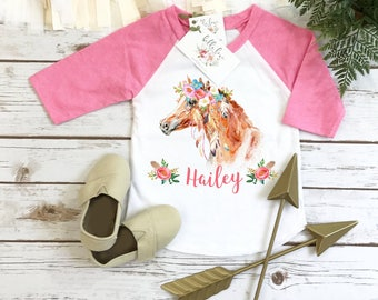 Horse Birthday, Personalized Baby Gift, Custom Baby Gift, Boho Horse RAGLAN, Niece Gift, Cute Girl Clothes, Cute Girl Gifts, Pony Party Set