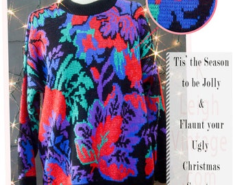 Ugly Christmas Sweater, Oversized Slouchy Sweater, 80s Metallic Sweater, Multi Colored Bat Wing Sweater, 80s Glam Sweater, Winter Jumper