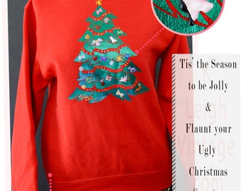 Vintage Ugly Christmas Sweater, Ugly Christmas Jumper, Red 80s Puffy Sweater, Metallic Pull Over Sweat Shirt, Ugly Christmas Tree Size Small
