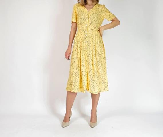 90s Yellow floral crossback button down viscose dress / size L-XL