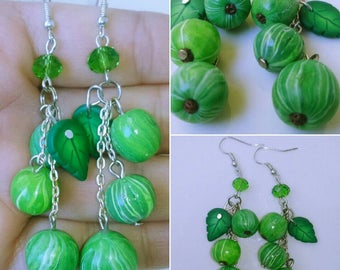 Nature jewelry Nature earrings Earrings with gooseberry Gooseberry Earrings Green earrings Earrings with berries Long earrings Green berrys