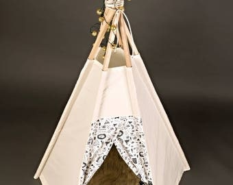 Kids Teepee Set - 6' tall - Indoor/outdoor teepee tent - imagination toy, Christmas gift
