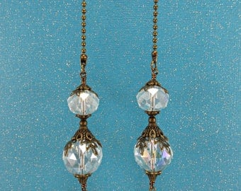Set of Two, Clear AB Crystal Ceiling Fan Pulls, Crystal Light Pull, Ball Chain Pull, Bronze Ball Chain Pull, Lamp Pull, Crystal Fan Pull