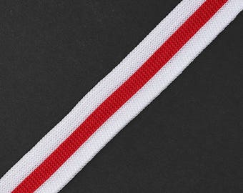 "3/4""(20mm) Knit Tape Ribbon Trim by 5-yards, Red/White, TR-11755"