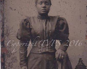 Black Americana Tintype photograph Stoic Woman