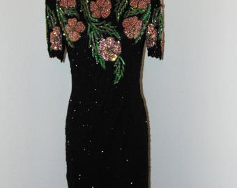 Vintage 1980s Beautiful Beaded & Sequin Dress by Lawrence Kazar in sz Small