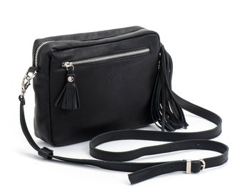 Black Leather clutch, Cross body bag, Leather purse, Small Leather bag, Black Clutch, Leather tassel, Free shipping! SALE!!