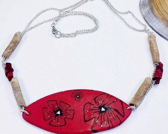 Red costume jewelry handmade polymer clay necklace