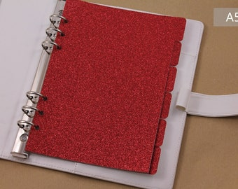 red planner dividers, dividers set for organiser, glittered dividers, 6 agenda dividers
