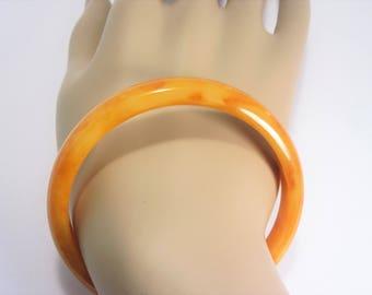 Vintage Bakelite Bangle Bracelet Orange Marmalade Art Deco 1930s Tested