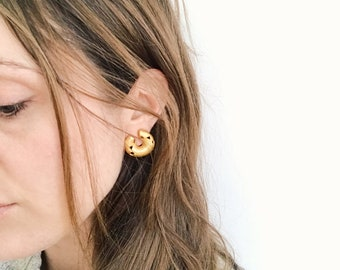 Vintage Gold Fill Abstract Clip On Earrings