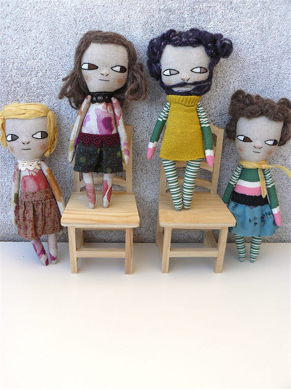 Little funny and strange quirky dolls. 20 cm Embroidered and hand painted.