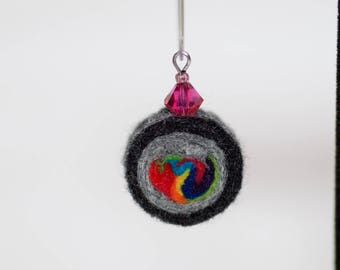 Felt earrings - wool bead earring - felt swirl bead -rainbow - eco friendly - Lightweight earring - crystal bead - wearable art - gift