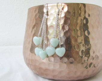 Amazonite earrings, heart dangle earrings, sterling silver earrings, chain drop earring, gift for her, handmade in the UK