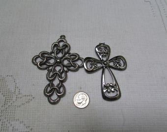 vintage Sarah Coventry 2 large cross pendants lot 1970's