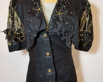 FREE  SHIPPING  1980  Embroidered  Bead  Jacket