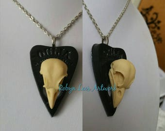 Large Resin Raven Crow Bird Skull on Black Resin Ouija Board Planchette Necklace on Silver, Bronze or Gold Chain or Black Cord